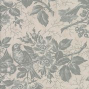 Moda Quill by 3 Sisters - 5592 - Bird Toile Floral, Teal on Pale Beige  - 44151 21 - Cotton Fabric